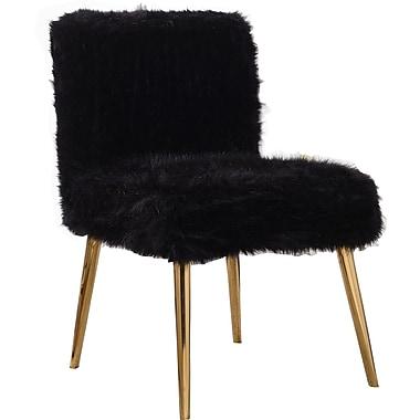 Mercer41 Palomar Fur Side Chair; Black