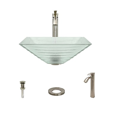 MRDirect Tierd Glass Square Vessel Bathroom Sink; Brushed Nickel