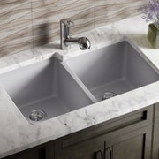 MRDirect TruGranite 32'' x 19'' Double Basin Undermount Kitchen Sink; Silver