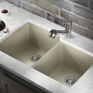 MRDirect TruGranite 32'' x 19'' Double Basin Undermount Kitchen Sink; Slate