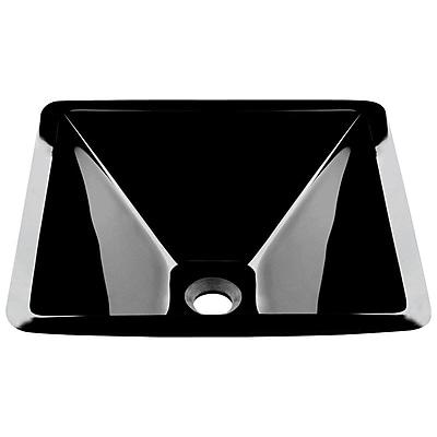 MRDirect Glass Square Vessel Bathroom Sink; Black