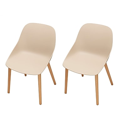 Latitude Run Sanor Beechwood Dining Chair (Set of 2); Beige