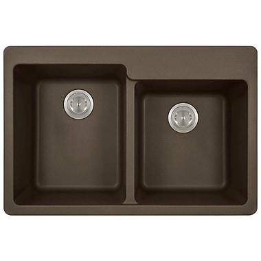 MRDirect TruGranite 33'' x 22'' Double Basin Topmount Kitchen Sink; Mocha