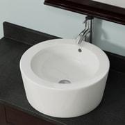 MRDirect Porcelain Circular Vessel Bathroom Sink w/ Overflow; Bisque