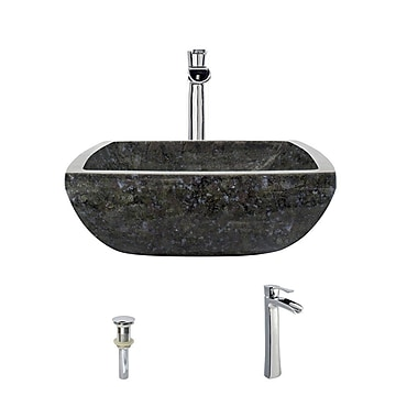 MRDirect Butterfly Granite Square Vessel Bathroom Sink; Chrome