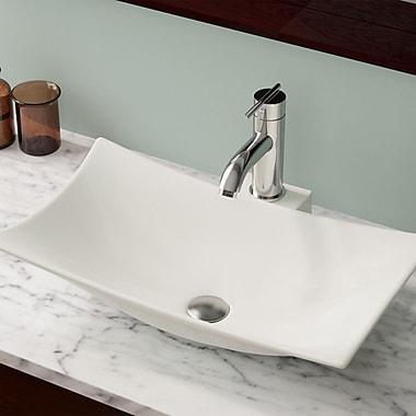 MRDirect Porcelain Rectangular Vessel Bathroom Sink w/ Overflow; Bisque