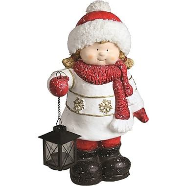Christmas Morning Winter Girl Holding Tealight Lantern Decorative Christmas Tabletop Figure