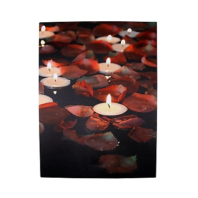 The Holiday Aisle '5 LED Lighted Garden Party Candles w/ Rose Petals' Photographic Art Canvas