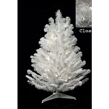 The Holiday Aisle 1'6'' Snow White Artificial Christmas Tree w/ 20 LED Clear Lights