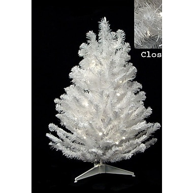 The Holiday Aisle 3' Snow White Artificial Christmas Tree w/ 50 Candlelight Clear LED Lights
