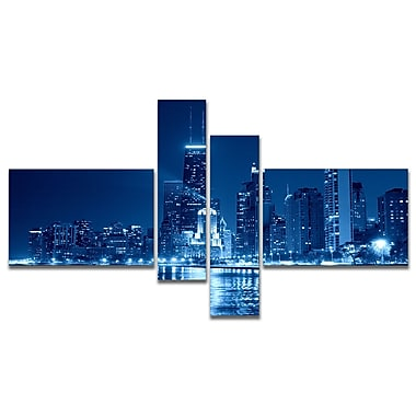 East Urban Home 'Blue Chicago Skyline Night' Photographic Print Multi-Piece Image on Canvas