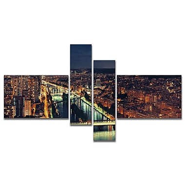 East Urban Home 'Paris City Night Skyline' Photographic Print Multi-Piece Image on Canvas