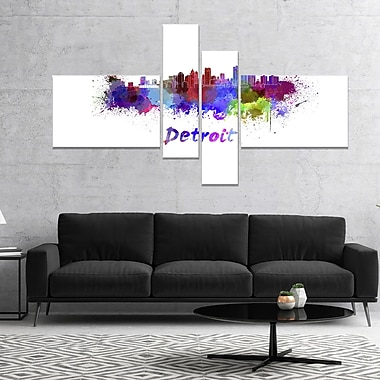 East Urban Home 'Detroit Skyline' Graphic Art Print Multi-Piece Image on Canvas