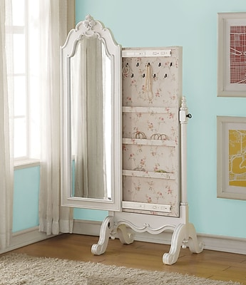 Harriet Bee Schechter Cheval Free Standing Jewelry Armoire w/ Mirror