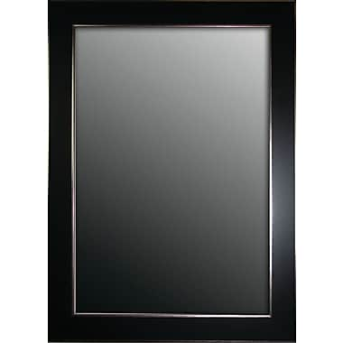 Latitude Run Schaffner Semi Matte Black w/ Silver Trim Edges Wall Mirror; 42'' H x 30'' W