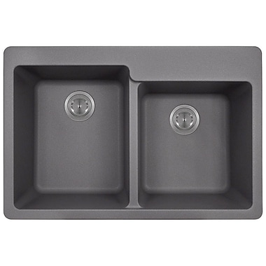 MRDirect TruGranite 33'' x 22'' Double Basin Topmount Kitchen Sink; Silver