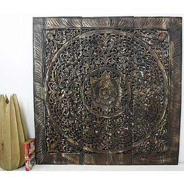 Bungalow Rose Lotus Square Panel in Recycled Teak Wall D cor; Black Stain