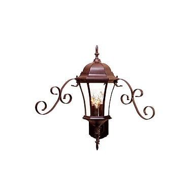 Astoria Grand Prangins 3-Light Metal Outdoor Sconce; Burled Walnut