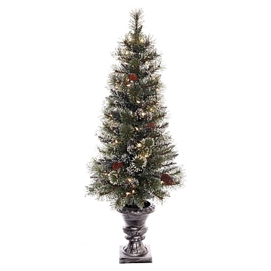 The Holiday Aisle Pre-lit Glitter Potted 4' Artificial Christmas Tree w/ 500 Clear Lights w/ Stand