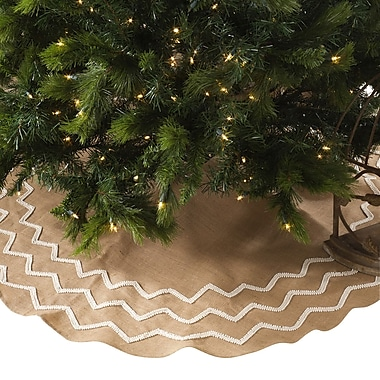 The Holiday Aisle Beaded Burlap Christmas Tree Skirt