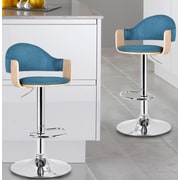 AdecoTrading Adjustable Height Swivel Bar Stool; Blue