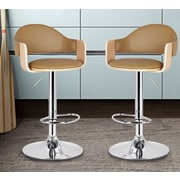 AdecoTrading Adjustable Height Swivel Bar Stool; Beige