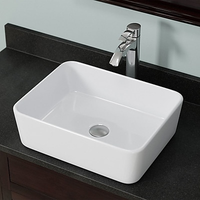 MRDirect Porcelain Rectangular Vessel Bathroom Sink w/ Overflow; White