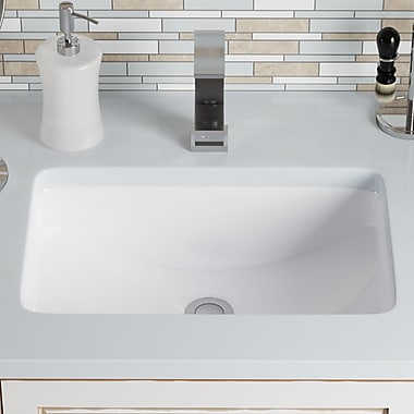 MRDirect Porcelain Rectangular Undermount Bathroom Sink w/ Overflow; White