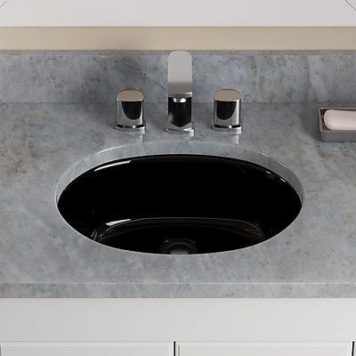 MRDirect Porcelain Oval Undermount Bathroom Sink w/ Overflow; Black