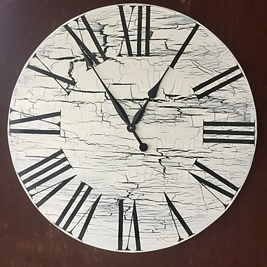 Darby Home Co Oversized Sycamore 28'' Vintage Style Crackle Painted Wood Wall Clock