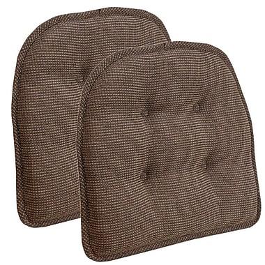 Charlton Home Gripper Tufted Chair Cushion (Set of 2); Caf