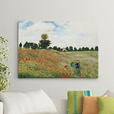 Charlton Home 'Wild Poppies Near Argenteuil' by Claude Monet Painting Print on Canvas