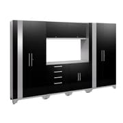 NewAge Products 7 Piece Garage Storage Set, Stainless Steel Work Top, Black (53554)