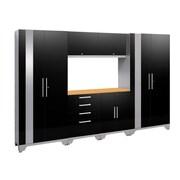 NewAge Products 7 Piece Garage Storage Set, Bamboo Work Top, Black (53556)