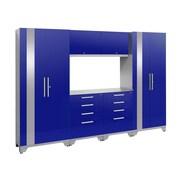 NewAge Products 7 Piece Garage Storage Set, Stainless Steel Work Top, Blue (53758)