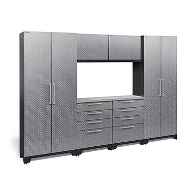 NewAge Products Silver 7 Piece Garage Storage Set, Stainless Steel Work Top, Diamond Plate Silver (55758)