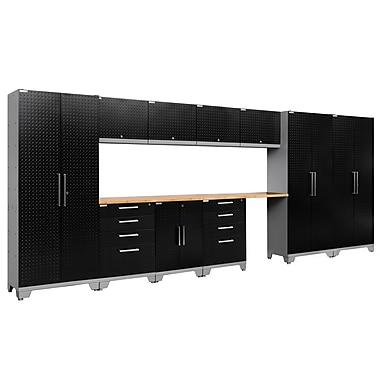 NewAge Products 12 Piece Garage Storage Set, Bamboo Work Top, Diamond Plate Black (55600)