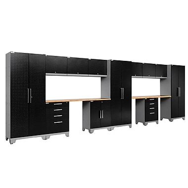 NewAge Products 14 Piece Garage Storage Set, Bamboo Work Top, Diamond Plate Black (55608)