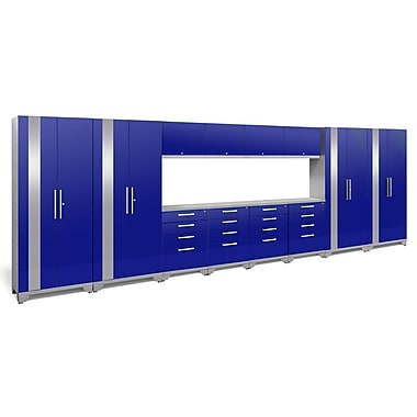 NewAge Products - Ensemble d?armoires pour garage de 14 pièces, surface de travail en acier inox., gris (53814)