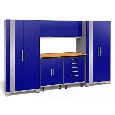 NewAge Products Performance Plus 2.0 7 Piece Garage Storage Set, Bamboo Work Top, Blue (53300)