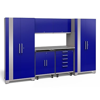 NewAge Products Performance Plus 2.0 7 Piece Garage Storage Set, Stainless Steel Work Top, Blue (53302)