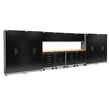 NewAge Products Performance Plus 14-Piece Garage Storage Set, Diamond Plate Black