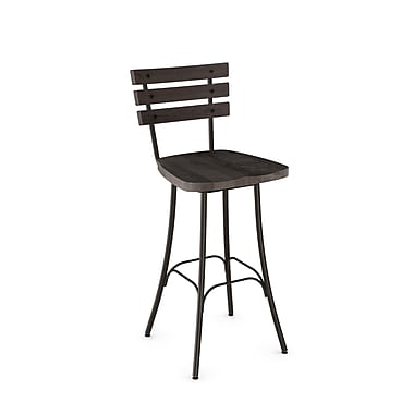 Amisco – Tabouret de bar en métal bronze semi-transparent Dock avec siège en bois gris foncé