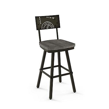Amisco – Tabouret de bar en métal bronze semi-transparent Jameson avec siège en bois gris usé (4125030/5189)