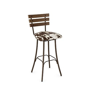 Amisco Lodge Hammered Brown Metal Barstool with Brown and Beige Faux Cowhide Fabric Wood Seat (4166330/74GM87)