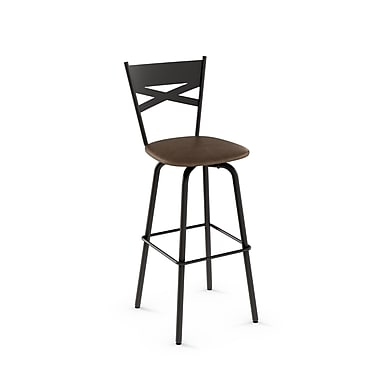 Amisco Tommy Brown Metal Counter Stool with Brown Polyurethane Seat (4046026/75EA)