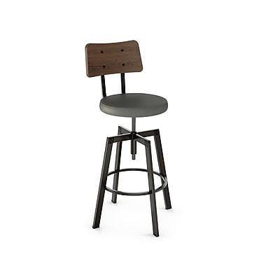 Amisco – Tabouret réglable, métal semi-transparent Symmetry, dossier en bois brun, siège en polyuréthane gris 41669/51DN87