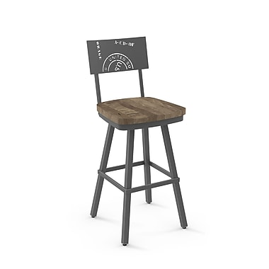 Amisco Jameson Dark Grey Metal Barstool With Beige Distressed Wood Seat