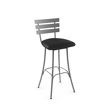 Amisco Unity Grey Metal Counter Stool with Black Polyurethane Seat (4166626/24EP)