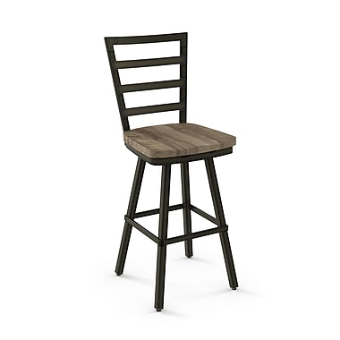 Amisco Prescot Semi-Transparent Gun Metal Counter Stool with Beige Wood Seat